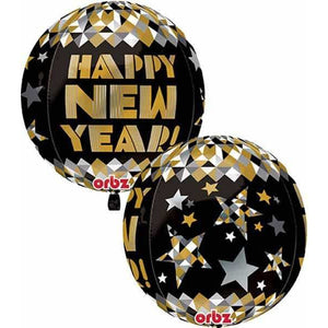 Happy New Year Gold Orbz Balloon