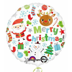 Merry Christmas Icons Foil Balloon - mypartymonsterstore
