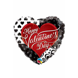 Valentines Black Hearts Supershape Balloon