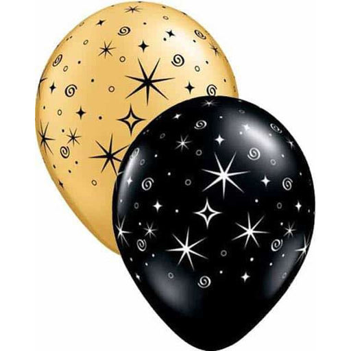 Gold And Black Sparkle And Swirls Latex Balloons 50pk