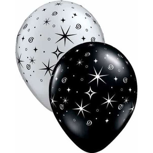 Silver And Black Sparkle And Swirls Latex Balloons 50pk