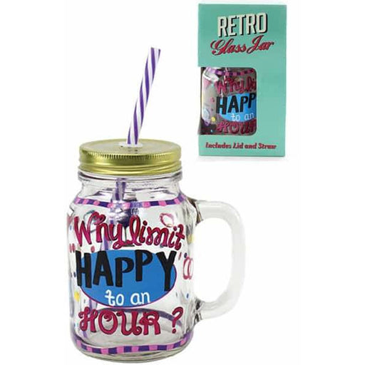 Happy Hour Jam Jar Drinking Glass