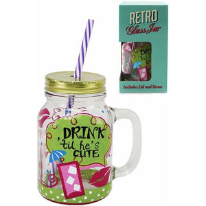 Hes Cute Jam Jar Drinking Glass - mypartymonsterstore