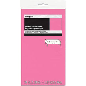 Hot Pink Plastic Rectangle Tablecover - mypartymonsterstore