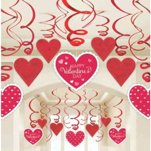 Red And White Hearts Swirl Decoration - mypartymonsterstore