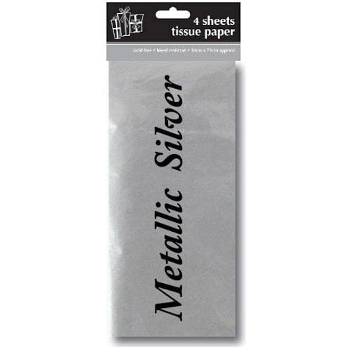 Metallic Silver Tissue Paper x4 Sheets