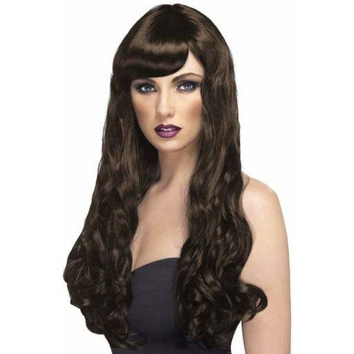 Long Brown Curly Wigs With Fringe