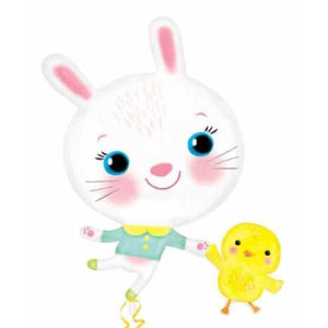 Easter Bunny And Chick Supershape Balloon - mypartymonsterstore