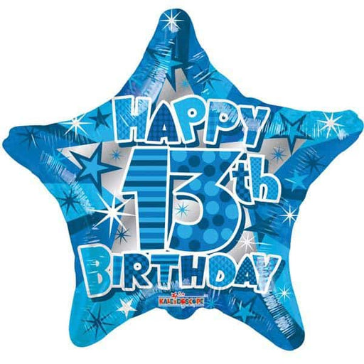 Happy 13th Birthday Blue Star Foil Balloon