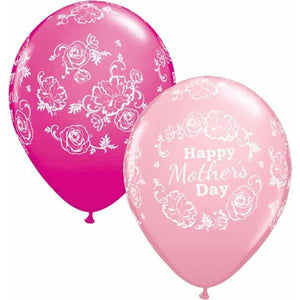 Mothers Day Floral Damask Latex Balloons 25ct - mypartymonsterstore