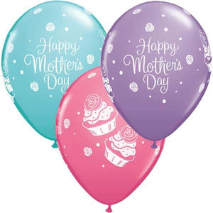 Mothers Day Cupcakes Latex Balloons 25ct - mypartymonsterstore