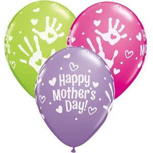 Mothers Day Handprints Latex Balloons 25ct - mypartymonsterstore