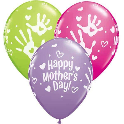 Mothers Day Handprints Latex Balloons 25ct