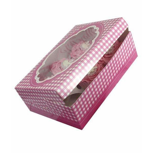 Pink Gingham Stitch Cupcake Boxes x2