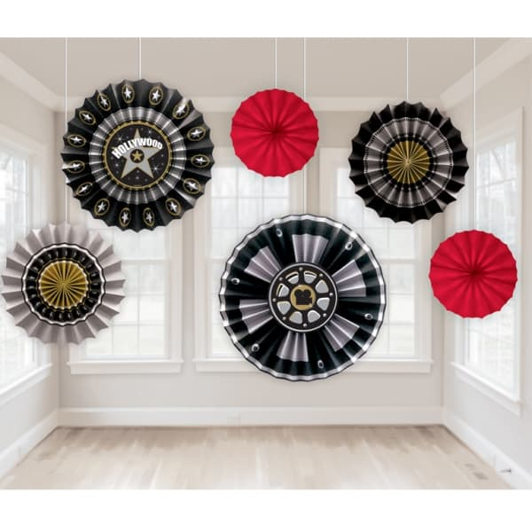 Hollywood Paper Fan Decorations 6pk