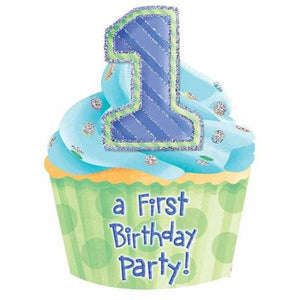 First Birthday Boy Invitations x 8 - mypartymonsterstore