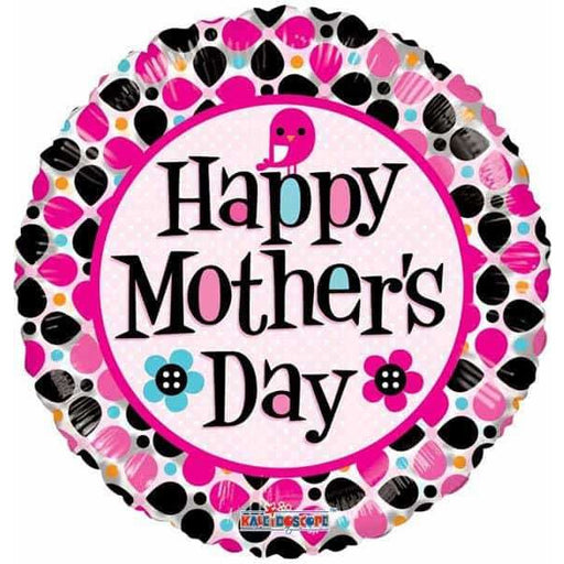 Happy Mothers Day Pink And Black Dots Foil Balloon