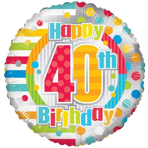 Happy 40th Birthday Dots And Stripes Foil Balloon