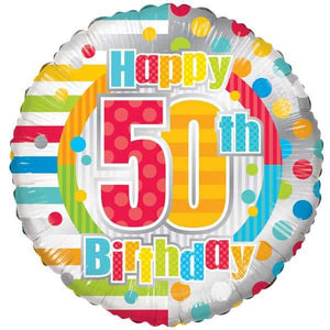 Happy 50th Birthday Dots And Stripes Foil Balloon
