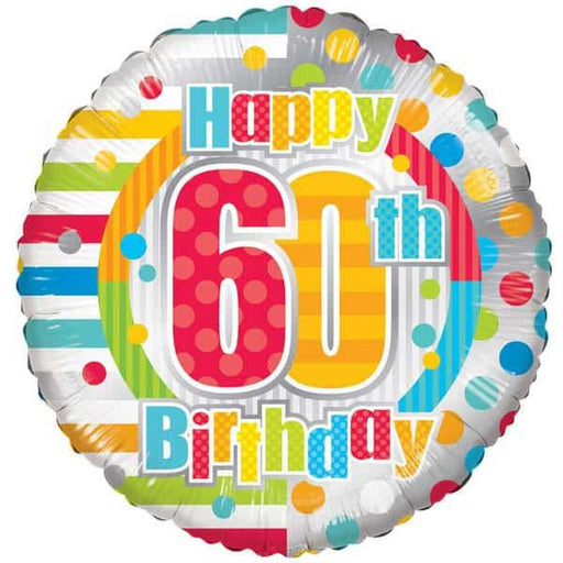 Happy 60th Birthday Dots And Stripes Foil Balloon