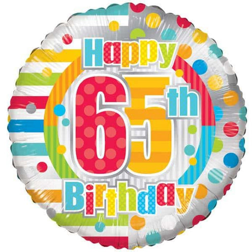 Happy 65th Birthday Dots And Stripes Foil Balloon