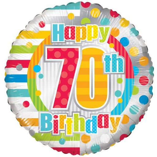 Happy 70th Birthday Dots And Stripes Foil Balloon