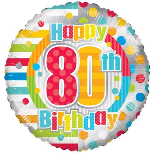 Happy 80th Birthday Dots And Stripes Foil Balloon