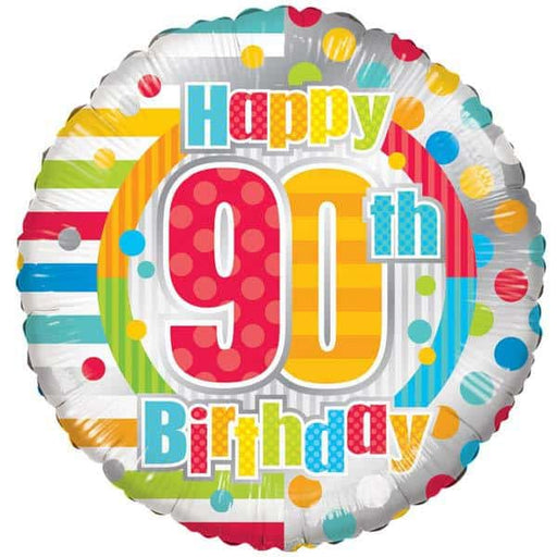 Happy 90th Birthday Dots And Stripes Foil Balloon