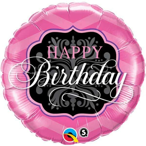 Happy Birthday Pink And Black Foil Balloon