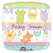 Cuddly Clothesline Baby Shower Foil Balloon