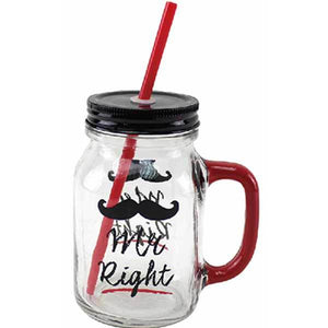 Mr Right Jam Jar Drinking Glass - mypartymonsterstore