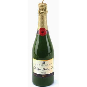 Wedding Day Champagne Bottle Candle