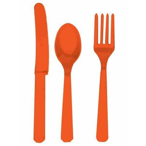 Orange Peel Plastic Cutlery 24pk - mypartymonsterstore