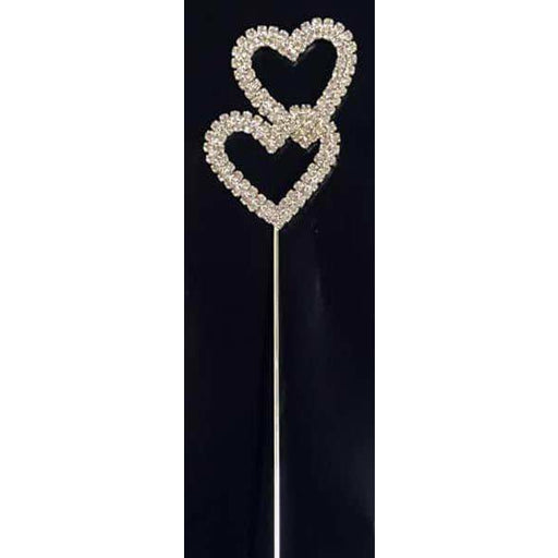 Silver Diamante Double Heart Cake Pick