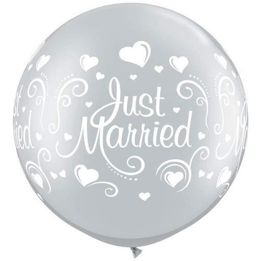 Silver Just Married Hearts Giant Latex Balloons x2
