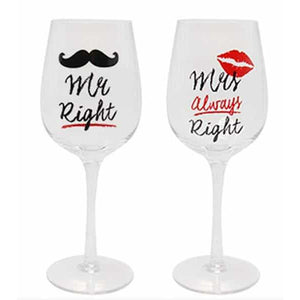 Mr And Mrs Alway Right Wine Glasses - mypartymonsterstore