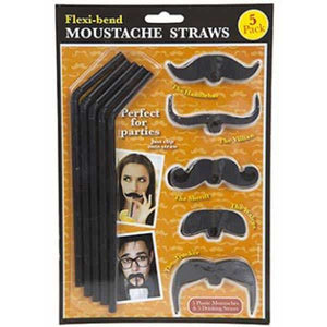 Moustache Flexi Bend Straws 5pc - mypartymonsterstore