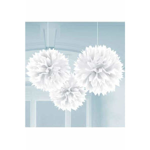 White Fluffy Paper Decorations 3pk - mypartymonsterstore