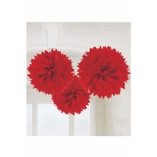 Red Fluffy Paper Decorations 3pk