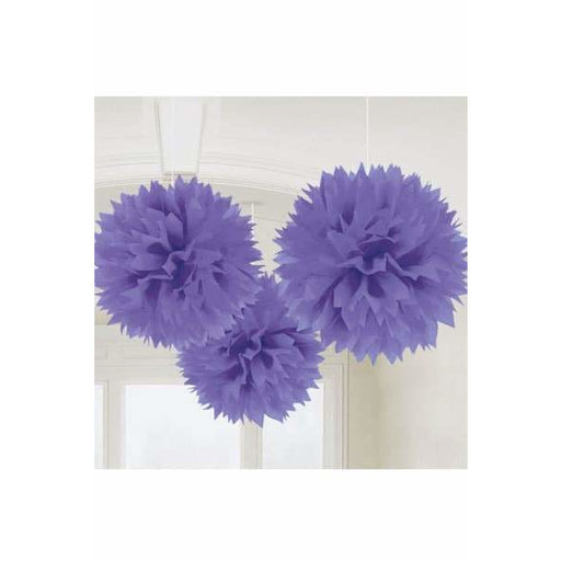 Purple Fluffy Paper Decorations 3pk