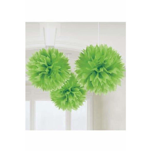 Kiwi Green Fluffy Paper Decorations 3pk
