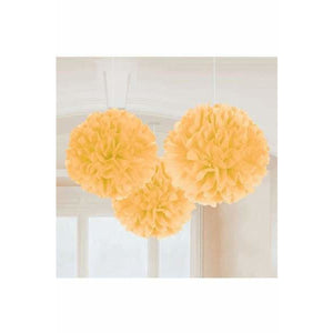 Gold Fluffy Paper Decorations 3pk
