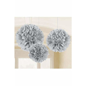 Silver Fluffy Paper Decorations 3pk