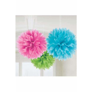 Multi Coloured Fluffy Paper Decorations 3pk