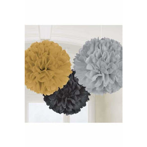 Hollywood Fluffy Paper Decorations 3pk