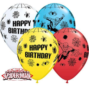 Spider Man Birthday Latex Balloons 25pk