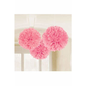 Pink Fluffy Paper Decorations 3pk