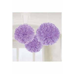 Lilac Fluffy Paper Decorations 3pk