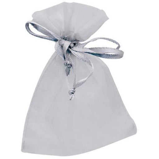 Silver Organza Favour Bags x10