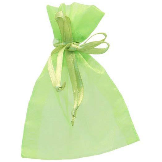 Lime Green Organza Favour Bags x10